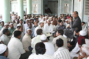 Sultan Salahuddin Owaisi - Sultan Salahuddin Owaisi addressing MIM party workers at MIM Headquarters Darussalam.