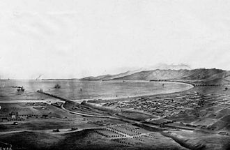 Santa Monica Pier - Sketch of Santa Monica and the Pier, 1875.