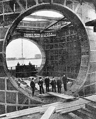 Blackwall Tunnel - A framing section of the Blackwall Tunnel being constructed at the Thames Ironworks around 1895