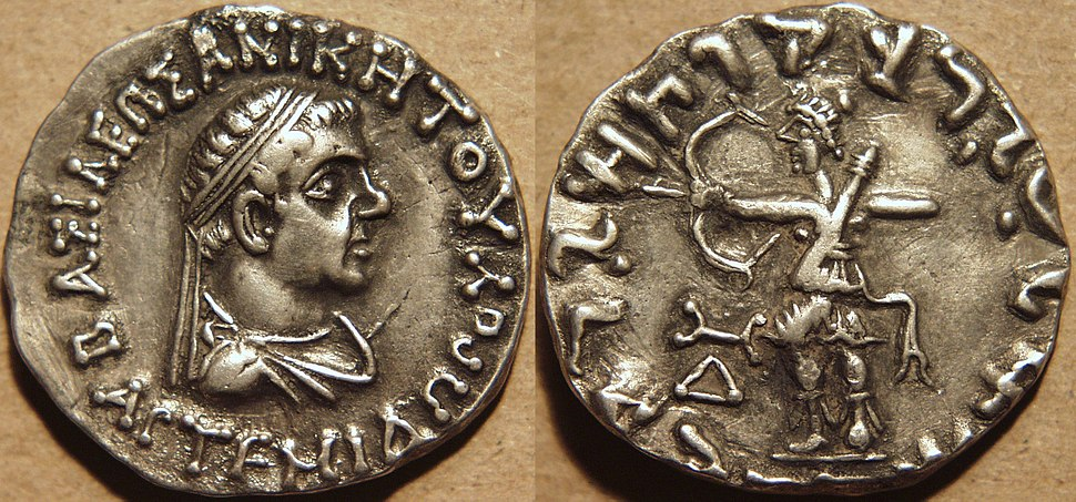 Silver tetradrachm of Indo-Greek king Artemidoros