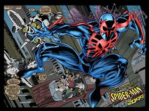 Spider-Man 2099 - Miguel O'Hara's debut as a futuristic version of Spider-Man from Spider-Man 2099 (August 1992). Art by Rick Leonardi
