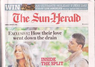 The Sun-Herald - Part of front page from 14 March 2010