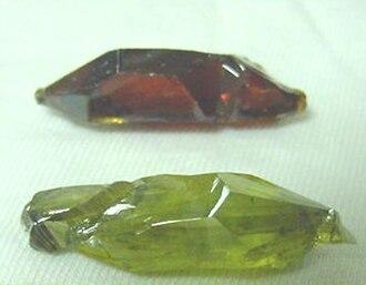 Zinc oxide - Image: Synthetic Zincite Crystals