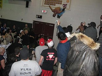 Teddy Hart - Hart doing a moonsault off a pull up bar at the Jersey All Pro Wrestling event Reclaiming Hudson on January 19, 2008 in Jersey City.