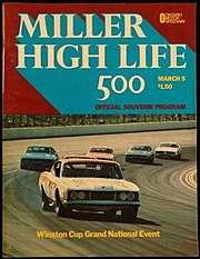 Souvenir program of the 1972 Miller High Life 500