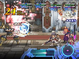 Ar Tonelico 2 - Prerelease screenshot demonstrating the Ar tonelico II battle system in action. While several of the displays differ from the final version, it shows how different it is from the one used in the first Ar tonelico