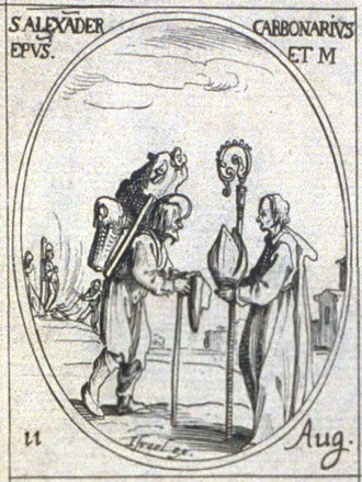 Alexander of Comana - An engraving of Saint Alexander of Comana by Jacques Callot