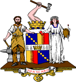 Government of Birmingham - Coat of arms of Birmingham, as granted in 1889, including an ermine fess (white horizontal band) across the centre to represent Edgbaston