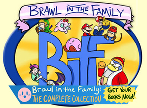 Brawl in the Family (webcomic) - The logo of the webcomic, promoting the complete collection of comic books