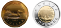 Canadian one-dollar coin (loonie) and two-dollar coin (toonie) before 2012. There are changes since 2012.