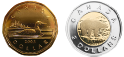 The One And Two Dollar Coins Nicknamed Loonie Toonie