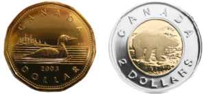 Canadian dollar - The one and two dollar coins, nicknamed the loonie and toonie.