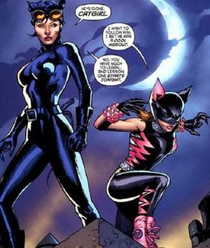 Catwoman - Selina with her then-sidekick, Catgirl (2010). Art by Tony Daniel.
