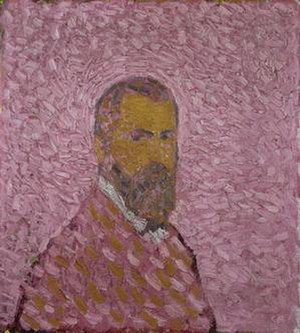 Cuno Amiet - Selbstbildnis in Rosa / Self-portrait in Rose (1907)  Oil on canvas, 60 × 55 cm