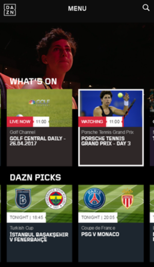 DAZN - Image: DAZN Screenshot i Phone