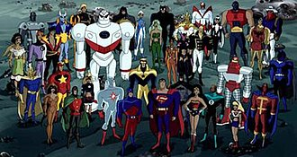 "DC animated universe - An image of several DCAU heroes from the Justice League Unlimited episode ""Dark Heart"""
