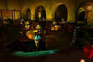 Discworld Noir - Screenshot of the Café Ankh. The game features low-key lighting with heavy shadows.