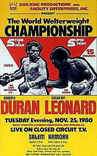 Roberto Durán vs. Sugar Ray Leonard II Boxing competition