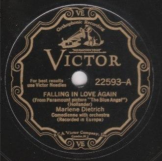 Falling in Love Again (Can't Help It) - Image: Falling in love again label A side