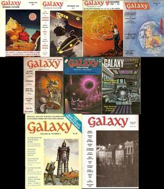 Galaxy Science Fiction - Nine issues of Galaxy, showing the major variations in cover design over the magazine's lifetime