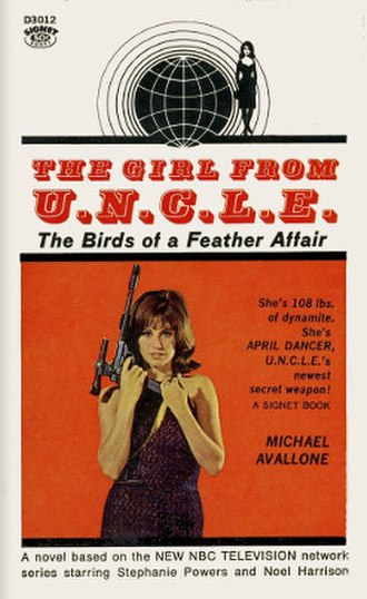 The Girl from U.N.C.L.E. - First Girl from U.N.C.L.E. novel. Pictured: Stefanie Powers as April Dancer. Note misspelling of Powers' first name.