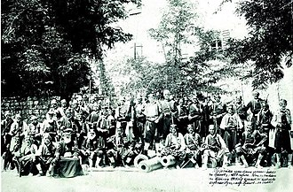 Battle of Grahovac - Veterans of the Battle of Grahovac photographed at the celebration of its 50th anniversary (1908)