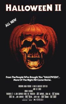 "The top of the poster reads ""HALLOWEEN II"", and just under those words is the phrase ""ALL NEW"". To the bottom right of those words, taking up the centre of the poster, is an orange pumpkin seemingly morphed into the shape of a human skull. A tagline below this reads ""From The People Who Brought You 'HALLOWEEN'...More Of The Night He Came Home."" At the bottom of the poster is a billing of the film's cast and crew."