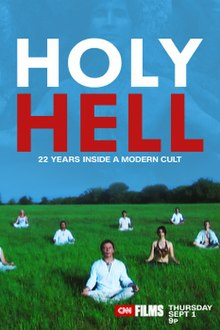 CNN poster for Holy Hell, depicting people sitting cross-legged in a field
