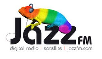 "Jazz FM (UK) - The first iteration of the Jazz FM logo used from the launch, which brought back the Jazz FM chameleon and ""Listen in Colour"" branding formerly used by Jazz FM back in the early 2000s (decade) on their London and North West FM stations"