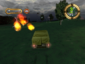 Jeff Wayne's The War of the Worlds (1999 video game) - The player's Armoured Lorry under attack from several Martian units.