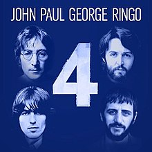 A blue monochrome picture of the individual musicians' faces with a large number 4 between them