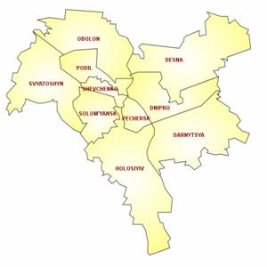 Formal districts of Kiev.
