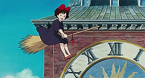 Kiki's Delivery Service - Image: Kiki's Delivery Service Screenshot 01 Kiki and Jiji flying by clocktower