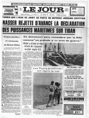 L'Orient-Le Jour - Le Jour as an independent title prior to merger as L'Orient- Le Jour
