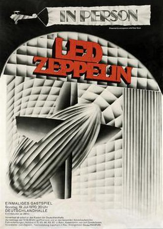 Led Zeppelin Tour of Iceland, Bath and Germany, Summer 1970 - Poster for Led Zeppelin's concert at Berlin, used to help promote its Summer 1970 tour of Germany