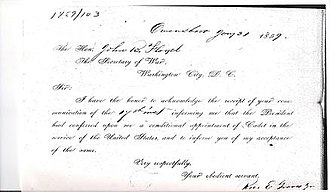 Rice E. Graves - Copy of the official document by Rice E. Graves, Jr., accepting his West Point appointment in 1859.