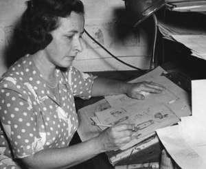 Marge (cartoonist) - Marge working on a sketch of her most famous character, Little Lulu