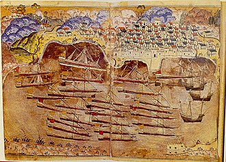 Ottoman fleet anchored at the French port of Toulon in 1543. Miniature by Matrakci Nasuh, who was travelling with the fleet. Matrakci toulon.jpg