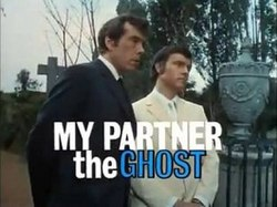 Series title over an image of Randall and Hopkirk in a graveyard