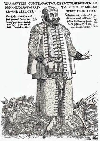 Nikola Šubić Zrinski - Nikola Šubić Zrinski on a 17th-century print