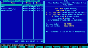 Norton Commander v.5.51 for DOS. Note the long file names present when running on Windows.