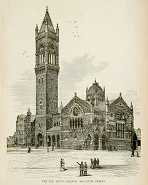 Old South Church - An 1882 engraving of Old South Church showing the first campanile.