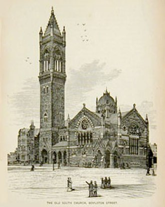 Charles Amos Cummings - A c. 1882 engraving of Old South Church in Boston.
