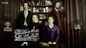 Quacks (TV series) - The title card, which shows the main four characters moving whilst a photograph is being taken, leading to it being blurred