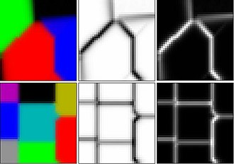Self-organizing map - Self organizing maps (SOM) of three and eight colors with U-Matrix.