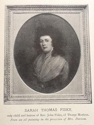 Fiske Goodeve Fiske-Harrison - Sarah Thomas Fiske from a portrait reproduced in The Fiske Family Papers