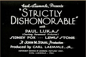 Strictly Dishonorable (1931 film) - title card