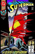 The Death of Superman: Superman #75 (Jan. 1993). Cover art by Dan Jurgens.