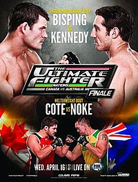 A poster or logo for The Ultimate Fighter Nations Finale: Bisping vs. Kennedy.