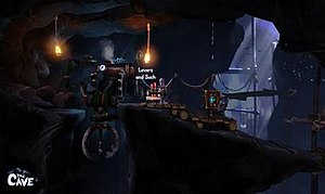 "The Cave (video game) - The knight character in The Cave, at the controls of the giant claw machine. Players are shown what objects they can interact with through the on-screen text, such as the ""Levers and Such"" caption here."